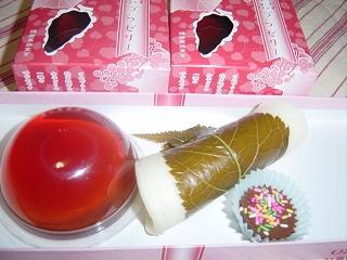 さなずらゼリー&桜餅&チョコ