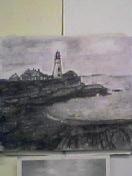 灯台の見える風景 木炭