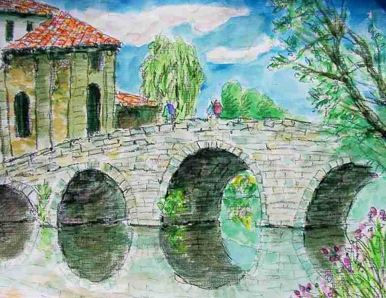 橋の傍の巡礼宿