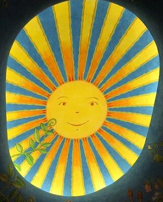 入り口天井太陽アップ