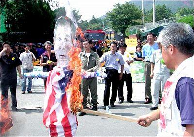 在韓米軍撤収デモ