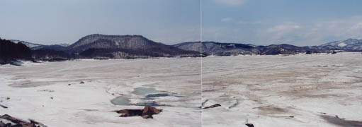 凍った桧原湖!